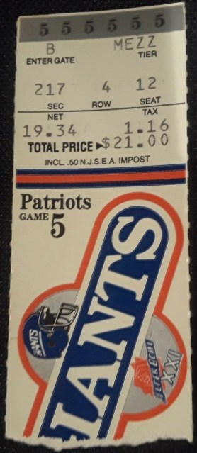 1987 New York Giants ticket stub vs Patriots 13