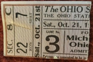 1922 NCAAF Ohio State Buckeyes ticket stub vs Michigan