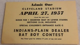 1957 Cleveland Indians Bat Boy contest ticket stub 8