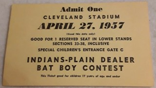 1957 Cleveland Indians Bat Boy contest ticket stub