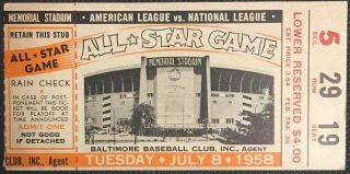 1958 MLB All Star Game Ticket Baltimore 150