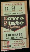 1958 NCAAF Iowa State Cyclones ticket stub vs Colorado