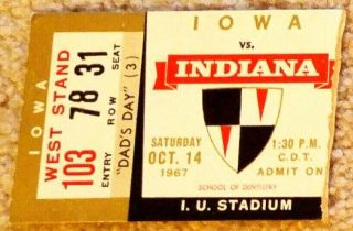 1967 NCAAF Indiana Hoosiers ticket stub vs Iowa