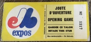 1973 Montreal Expos Opening Day ticket stub