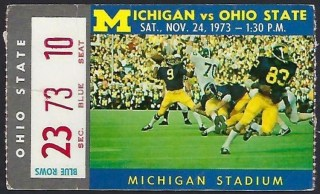 1973 NCAAF Michigan Wolverines ticket stub vs Ohio State
