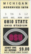 1978 NCAAF Ohio State ticket stub vs Michigan