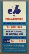 1983 Montreal Expos Mike Schmidt 2 HR ticket stub