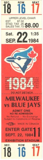 1984 Toronto Blue Jays ticket stub vs Brewers