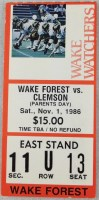 1986 NCAAF Wake Forest ticket stub vs Clemson