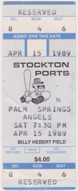 1989 Stockton Ports ticket stub vs Palm Springs Angels