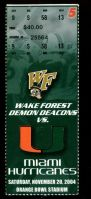 2004 NCAAF Miami Hurricanes ticket stub vs Wake Forest