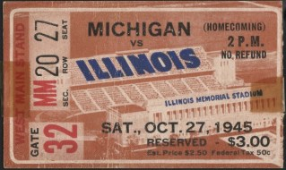 1945 NCAAF Illinois ticket stub vs Michigan 40