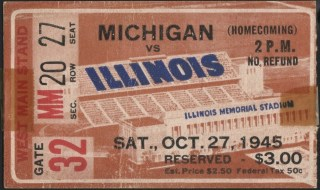 1945 NCAAF Illinois ticket stub vs Michigan