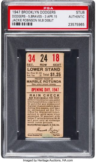 1947 Jackie Robinson debut ticket stub 16700