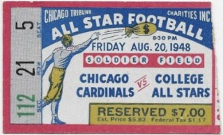 1948 Chicago Cardinals ticket stub vs College All Stars
