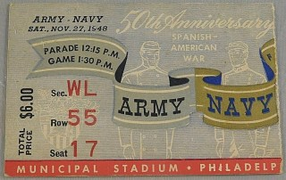 1948 NCAAF Army vs Navy ticket stub
