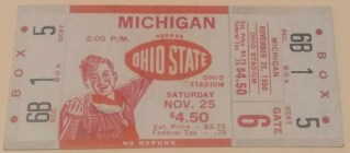 1950 NCAAF Ohio State ticket stub vs Michigan 185
