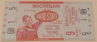 1950 NCAAF Ohio State Buckeyes ticket stub vs Michigan
