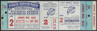 1954 World Series Game 2 Full Ticket Giants vs Indians 250