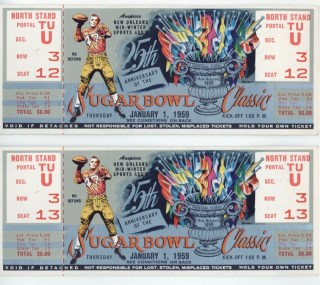 1959 Sugar Bowl ticket stubs LSU vs Clemson 3000