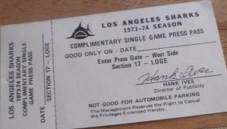 1973-74 WHA Los Angeles Sharks Guest Pass