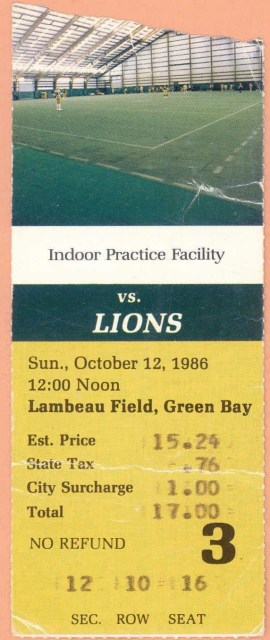 1986 Green Bay Packers ticket stub vs Detroit