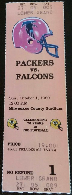 1989 Green Bay Packers ticket stub vs Atlanta 12