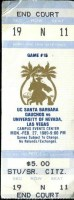 1989 NCAAMB UC Santa Barbara ticket stub vs UNLV