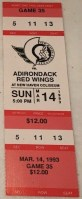 1993 AHL New Haven Senators ticket stub vs Adirondack