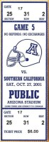 2001 NCAAF Arizona Wildcats ticket stub vs USC