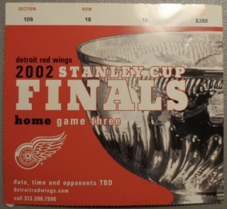 2002 Stanley Cup Final Game 5 ticket stub Red Wings vs Hurricanes 10