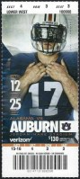 2017 NCAAF Iron Bowl ticket stub Auburn vs Alabama