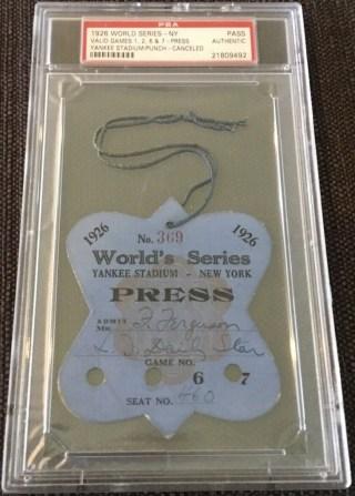 1926 World Series Press Pass Yankees vs Cardinals