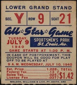 1940 All-Star Game Sportsman's Park Ticket Stub 147.50
