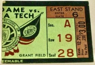 1941 NCAAF Notre Dame ticket stub vs Georgia Tech 125