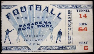 1945 Rose Bowl ticket stub USC vs Tennessee 16