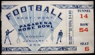 1945 Rose Bowl ticket stub USC vs Tennessee