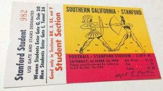 1948 NCAAF Stanford ticket stub vs USC