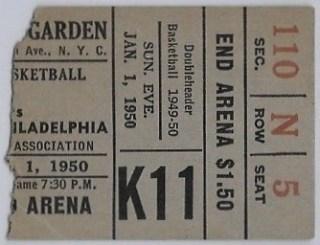 1950 New York Knicks Philadelphia Warriors Celtics Globetrotters Ticket Stub 15