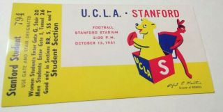 1951 NCAAF Stanford Indians ticket stub vs UCLA Bruins