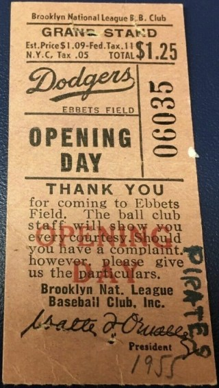 1955 Brooklyn Dodgers Opening Day ticket stub
