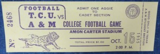 1955 NCAAF TCU ticket stub vs Texas A and M 25