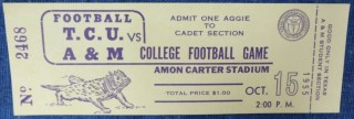 1955 NCAAF TCU ticket stub vs Texas A and M