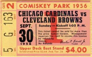 1956 Chicago Cardinals ticket stub vs Browns