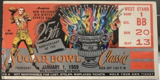 1958 Sugar Bowl ticket stub LSU vs Clemson 295