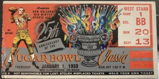 1958 Sugar Bowl ticket stub LSU vs Clemson