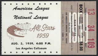 1959 MLB All Star Game ticket stub Mantle Drysdale 89