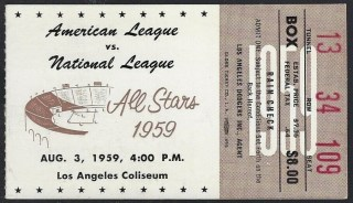 1959 MLB All Star Game ticket stub