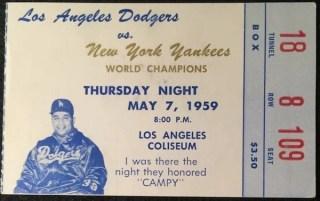 1959 Roy Campanella Night ticket stub