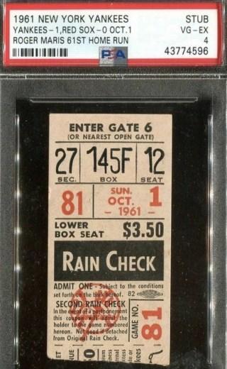 1961 Roger Maris HR 61 ticket stub 1500